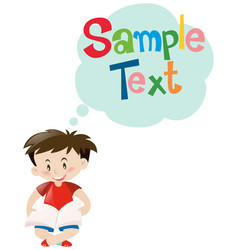 Template design with boy reading book vector