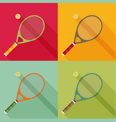 tennis racket and ball icon with long shadow flat vector image
