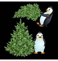 Two fun penguin carrying a green Christmas tree vector image