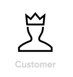 User customer icon profile avatar with crown vector