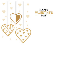 Valentines day card with hanging decorative hearts vector