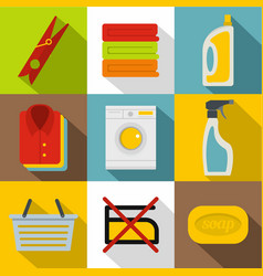 washing clothes icons set flat style vector image