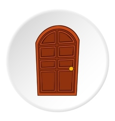 Wooden door icon cartoon style vector