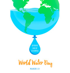 world water day earth concept for environment care vector image