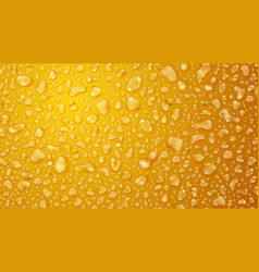 Yellow background of water drops vector