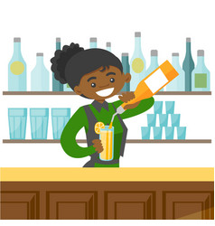 Young african-american bartender making a cocktail vector