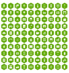 100 interior icons hexagon green vector image vector image