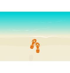 Sand beach with flip flops vector image vector image