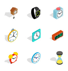 time and clock icons isometric 3d style vector image vector image