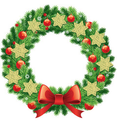 Traditional christmas wreath with garlands vector