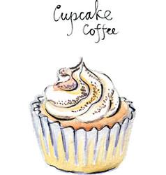 watercolor cupcake coffee vector image vector image
