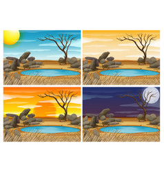 waterhole sceen at four different times vector image