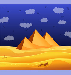 cartoon egyptian pyramids in the desert with blue vector image vector image