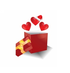 Christmas gift box with hearts vector image