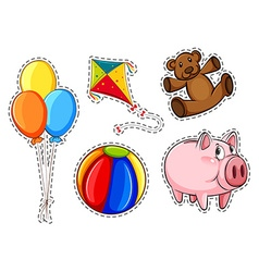 Sticker set with different toys vector image