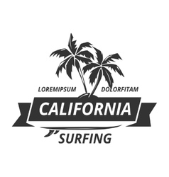 Surfing logo with palm tree vector image