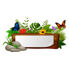 wood sign with many butterfly vector image