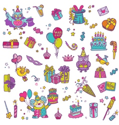 Hand drawn Birthday Celebration Design Elements vector image