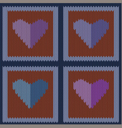 knitted woolen seamless pattern with purple hearts vector image vector image