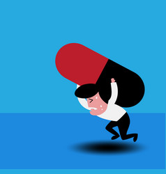 man carrying a big medicine vector image