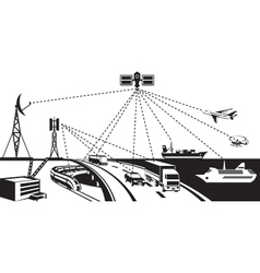 Navigation and vehicle tracking vector image vector image