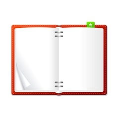 open personal organizer book red vector image vector image