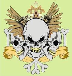 vintage wing skull vector image vector image
