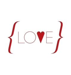 Word love with red heart vector image vector image