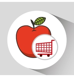 Apple ecommerce shopping cart graphic vector