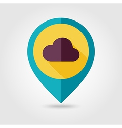 Cloud flat pin map icon meteorology weather vector