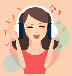 girl listening to music in headphone young female vector image vector image
