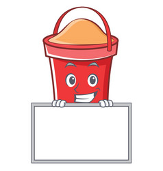 grinning with board bucket character cartoon style vector image vector image