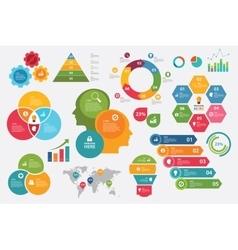 Info graphic set chart arrow steps vector