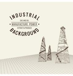 Oil derrick background vector image vector image