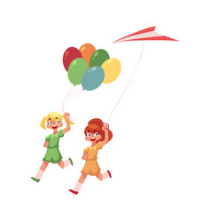 two teenage girl friends running together with vector image