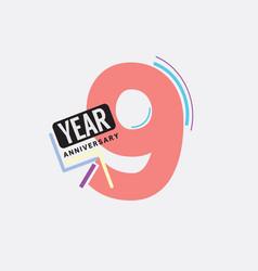 9th years anniversary logo birthday celebration vector