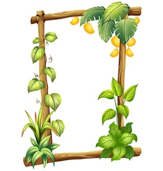 A frame made of wood with mangoes vector