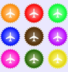 airplane icon sign A set of nine different colored vector image
