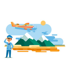 airplane taxi in flight over high mountains vector image