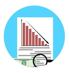 Analysis of financial crisis app icon vector