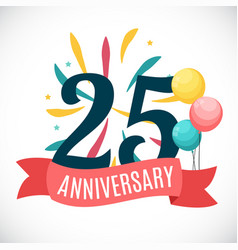 anniversary 25 years template with ribbon vector image