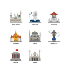 asian cities and counties landmarks icons set 5 vector image