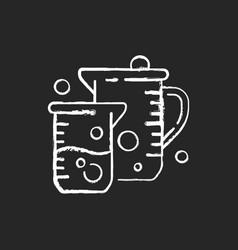 Beaker chalk white icon on black background vector