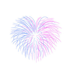 beautiful heart-firework bright romantic salute vector image