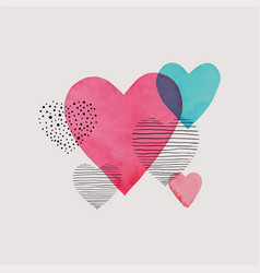 Beautiful watercolor hearts with doodle sketch vector