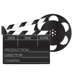 Black movie clapperboard and film vector