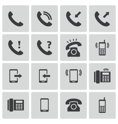 Black telephone icons set vector