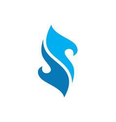 blue fire letter s logo icon concept vector image