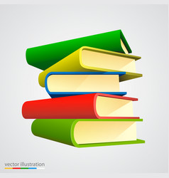 book stack on white background vector image