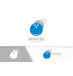 Bowling and tag logo combination game and vector